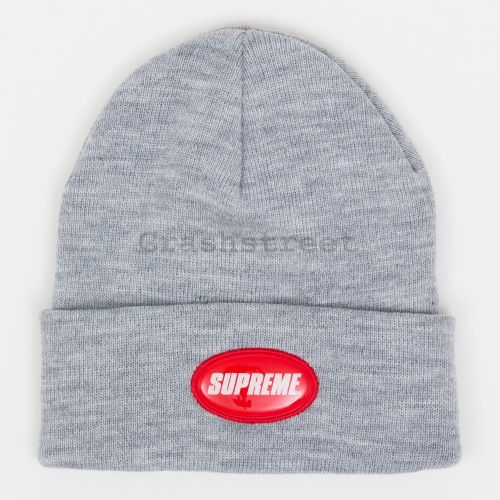 Rubber Patch Beanie in Grey