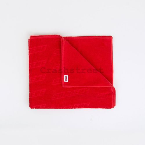 Embossed Logo Beach Towel in Red
