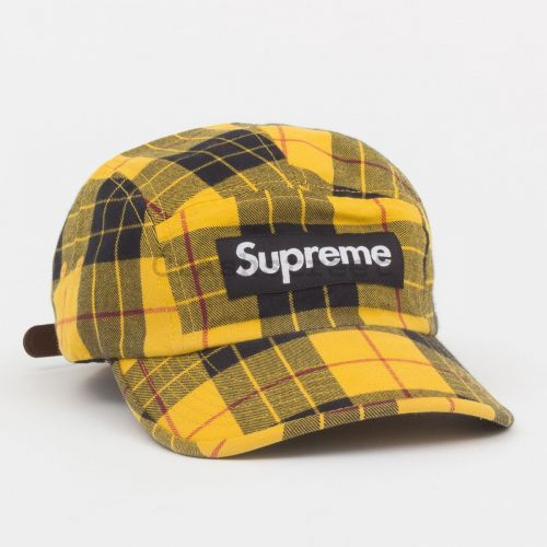 Washed Chino Twill Camp Cap - Yellow Plaid
