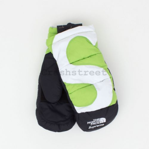 The North Face S Logo Nuptse Mitts in Lime
