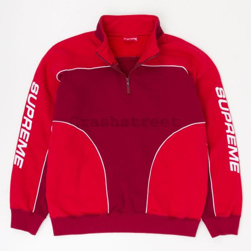 Speedway Half Zip Sweatshirt in Red / Red
