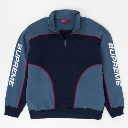 Speedway Half Zip Sweatshirt in Navy / Teal
