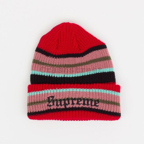Bright Stripe Beanie in Red