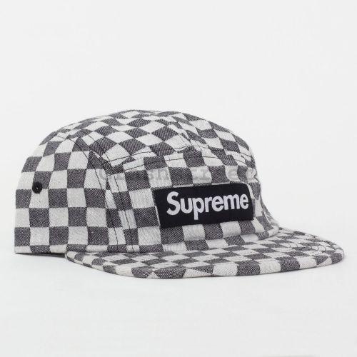 Checkerboard Camp Cap in Black