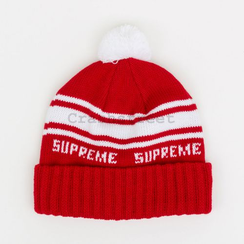 Classic Stripe Beanie in Red