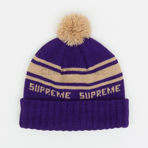 Classic Stripe Beanie in Purple